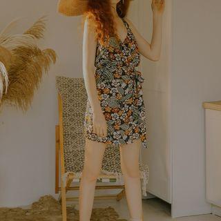 Sincethen - Sleeveless Pattern Printed Tie-Waist Mini Dress
