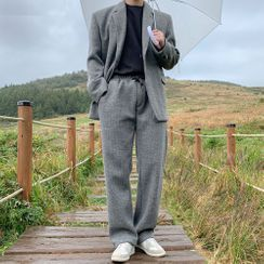 DragonRoad - Set: Knit Single-Breasted Blazer + Pants