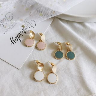 Yambo - Alloy Disc Dangle Earrings