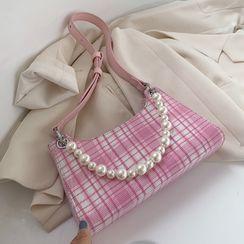 Kunado - Faux Pearl Plaid Faux Leather Shoulder Bag