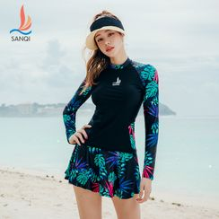 Thein - Set: Long-Sleeve Printed Rashguard + Swim Skirt