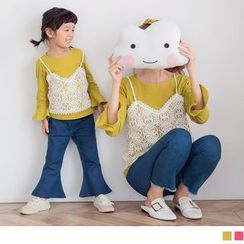 OrangeBear - Kids Set: Bell Sleeve Plain Top + Lace Camisole Top