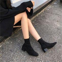 MONOBARBI(モノバービ) - Block-Heel Ankle Boots