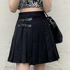 Amanee - High-Waist Pleated Mini A-Line Skirt