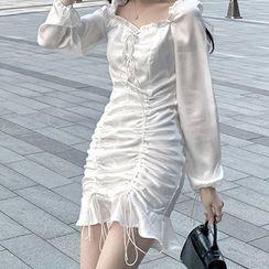 OKMA SHOP - Drawstring Long-Sleeve Mini Sheath Dress