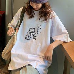 Onnell - Bear Print Short-Sleeve T-Shirt
