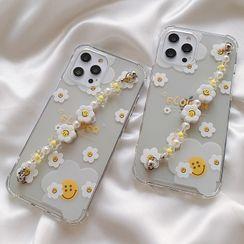 Chatarine - Smiley Flower Hand Chain Transparent Phone Case - iPhone 12 Pro Max / 12 Pro / 12 / 12 mini / 11 Pro Max / 11 Pro / 11 / SE / XS Max / XS / XR / X / SE 2 / 8 / 8 Plus / 7 / 7 Plus