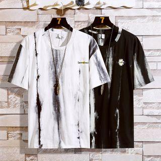 Fizze - Short-Sleeve Floral Print Tie-Dyed T-Shirt