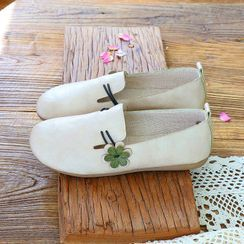 Daminsky - Flower Faux Leather Slip-Ons