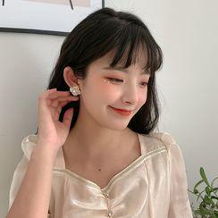 Gold Beam - Flower Faux Pearl Alloy Earring