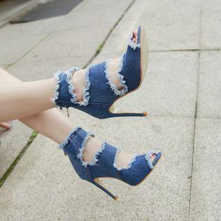 Edda - Denim High Heel Sandals