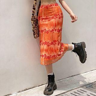 Sosana - Falda midi de malla con estampado de flores