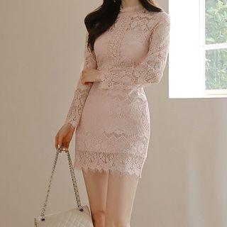 Yilda - 长袖蕾丝迷你塑身连衣裙