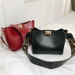 Studio Sophista - Set: Faux Leather Crossbody Bag + Leopard Print Crossbody Bag