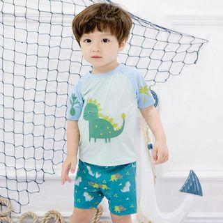 Morning Dew - Kids Set: Dinosaur Print Rashguard + Swim Shorts + Swim Cap