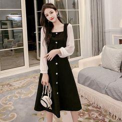 Petit Lace - Long-Sleeve Color-Block Dress