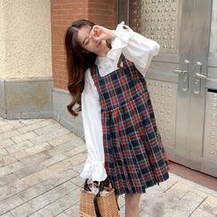 Miss Bearie - Plaid Pleated Mini A-Line Overall Dress / Bow-Back Plain Blouse