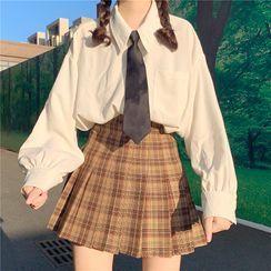 Miss Bearie - Long-Sleeve Shirt with Necktie / Plaid Pleated Mini A-Line Skirt