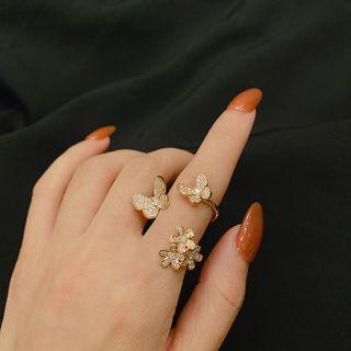 Ticoo - Rhinestone Butterfly Ring
