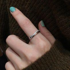 Honne - 925 Sterling Silver Rhinestone Open Ring