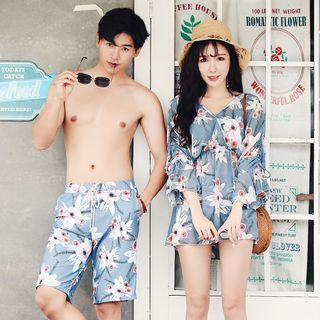 Salanghae - Couple Matching Floral Bikini / Cover Up / Swim Shorts / Set