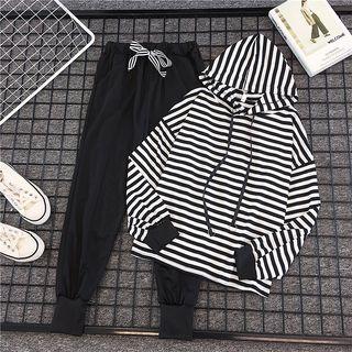 DazTRUE - 套裝: 條紋連帽衫 + 運動褲