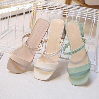 RE: 5 - Strappy Block-Heel Slide Sandals