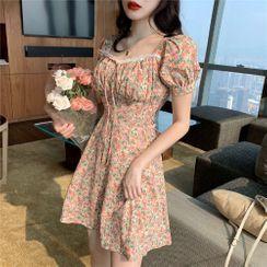 Elvik - Short-Sleeve Floral Print Mini A-Line Dress