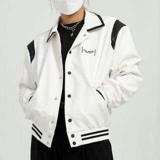 FAERIS - Contrast Trim Faux Leather Cropped Jacket