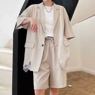 VEAZ - Short-Sleeve Striped Trim Blazer