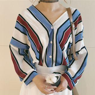 Dute - 条纹V领七分袖衬衫