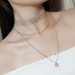 Recitbeau - Set: Sequined Choker + Faux Pearl Alloy Disc Pendant Layered Necklace