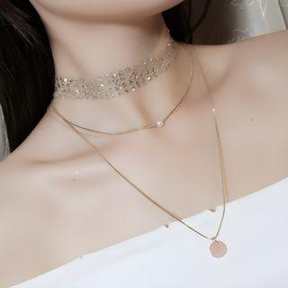 Recitbeau - Set: Gargantilla con lentejuelas + Collar doble con disco colgante y perlas de imitación