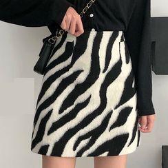 Jeans Kingdom - Zebra Print Mini A-Line Skirt