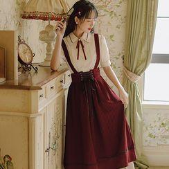 Retro Forest - 套装: 中袖衬衫 + 细条纹A字背带连衣中裙