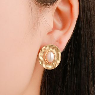 Mulyork - Faux Pearl Alloy Disc Earring