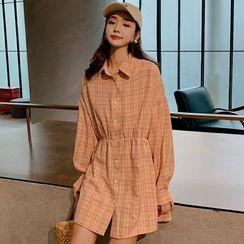 Romantica - Long-Sleeve Mini Plaid Shirtdress