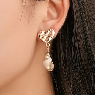 Mulyork - Alloy Heart Shell Dangle Earring