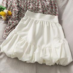 Lemongrass - 松紧腰褶皱半身短裙