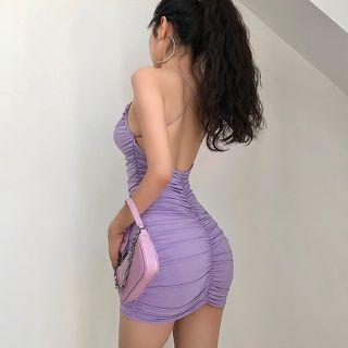 RainGirl - Spaghetti Strap Ruched Open-Back Mini Bodycon Dress
