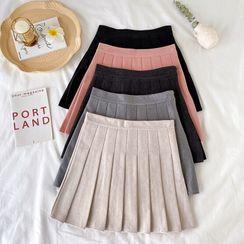 Guajillo(グアジロ) - High-Waist Pleated A-Line Woolen Skirt