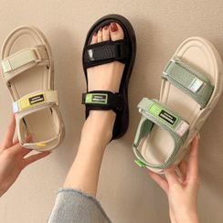 Weiya - Lettering Adhesive Strap Sandals