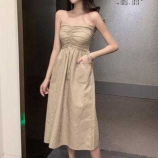 Maine - Strapless Shirred Midi A-Line Dress
