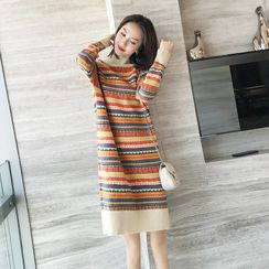 Midori - Striped Sweater Shift Dress