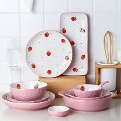 Kawa Simaya - Strawberry Print Ceramic Bowl / Plate / Food Tray / Spoon