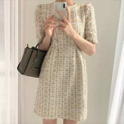 Pomona - Short-Sleeve Tweed Mini A-Line Dress