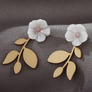 Greenerdy - 花朵貝殼合金耳環