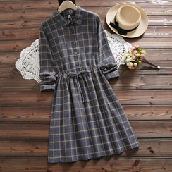 Clover Dream - Plaid Drawstring Waist A-Line Shirtdress