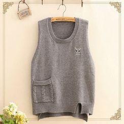 Kawaii Fairyland - Cat Embroidered Dip-Back Knit Vest
