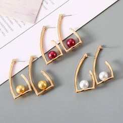 Ignar - Faux Pearl Alloy Earring